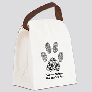 Dog Paw Print Personalized Canvas Lunch Bag