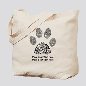 Dog Paw Print Personalized Tote Bag