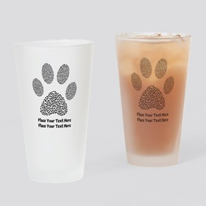 Dog Paw Print Personalized Drinking Glass
