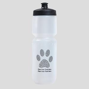 Dog Paw Print Personalized Sports Bottle