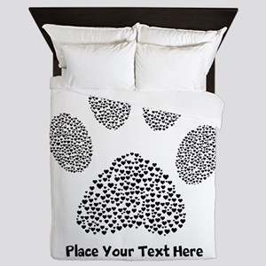 Dog Paw Print Personalized Queen Duvet