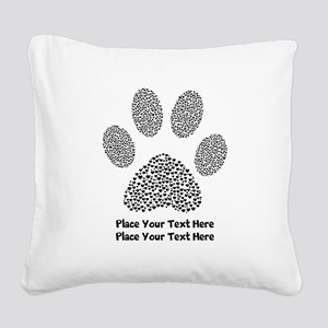 Dog Paw Print Personalized Square Canvas Pillow
