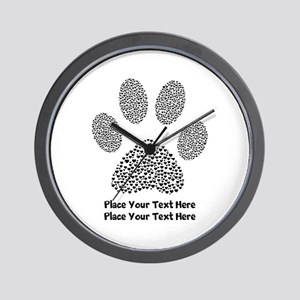Dog Paw Print Personalized Wall Clock