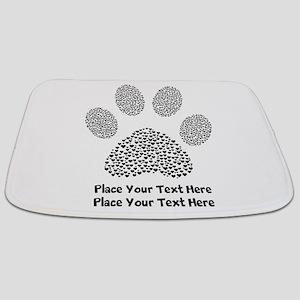 Dog Paw Print Personalized Bathmat