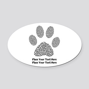 Dog Paw Print Personalized Oval Car Magnet