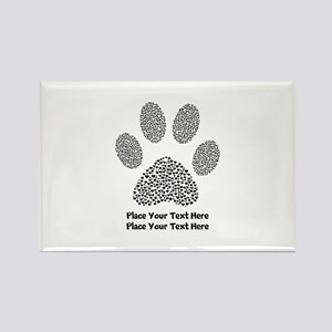 Dog Paw Print Personalized Rectangle Magnet