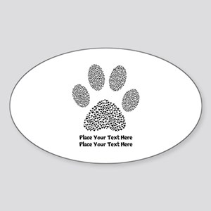 Dog Paw Print Personalized Sticker (Oval)