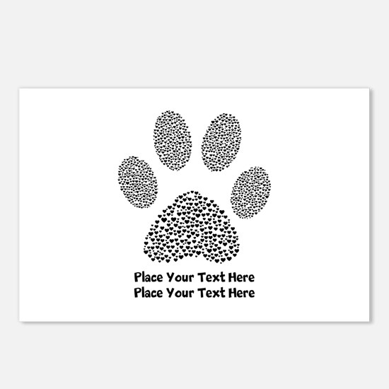 Dog Paw Print Personalize Postcards (Package of 8)