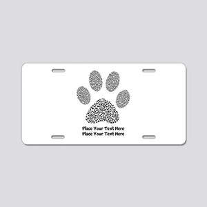 Dog Paw Print Personalized Aluminum License Plate