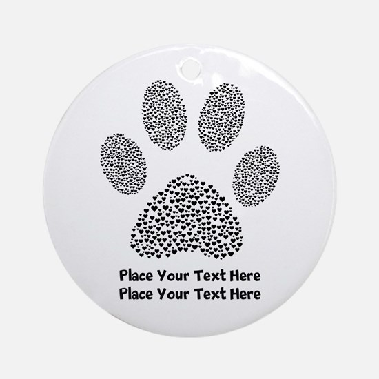 Dog Paw Print Personalized Round Ornament