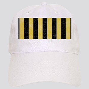 STRIPES1 BLACK MARBLE & YELLOW WATERCOLOR Cap