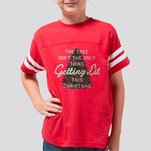 Funny Getting Lit Christmas Youth Football Shirt
