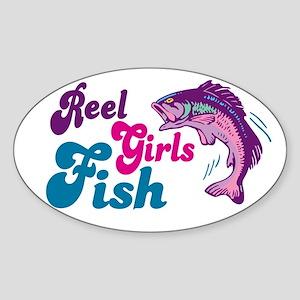 Reel Girls Fish Oval Sticker