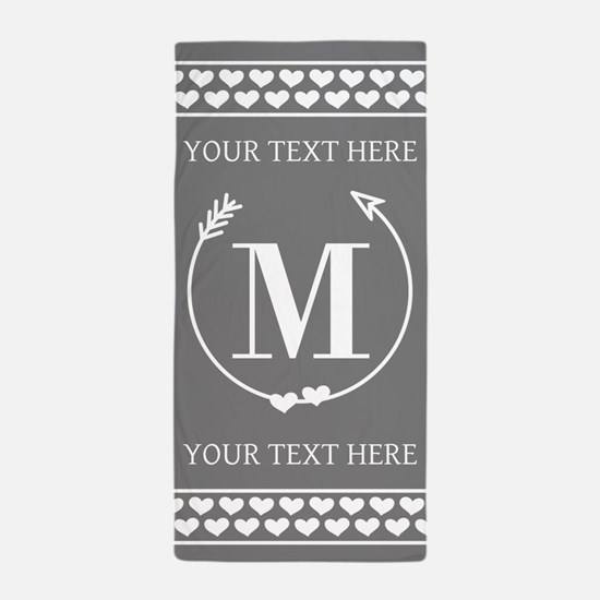 Personalized Monogram Gray and White H Beach Towel