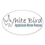 White Bird Appaloosa Horse Re Oval Sticker