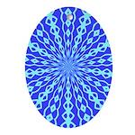Blue Pattern 001 Oval Ornament