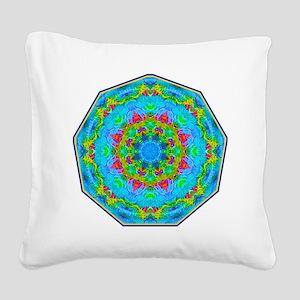 Red Flower Blue Mandala Square Canvas Pillow