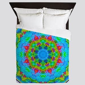 Red Flower Blue Mandala Queen Duvet