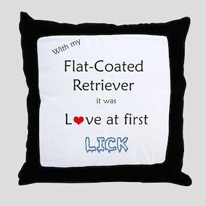 Flat-Coat Lick Throw Pillow