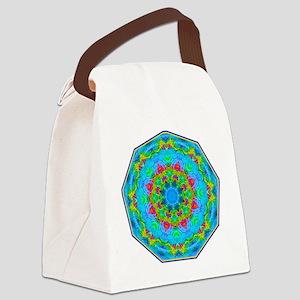 Red Flower Blue Mandala Canvas Lunch Bag