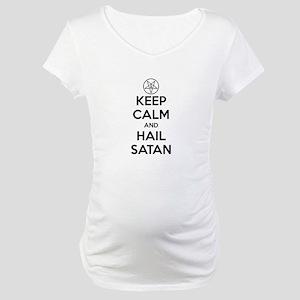 Keep Calm and Hail Satan Maternity T-Shirt