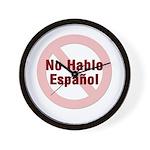 No Hablo Espanol - Red Circle Wall Clock