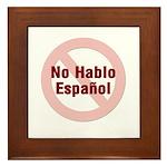 No Hablo Espanol - Red Circle Framed Tile