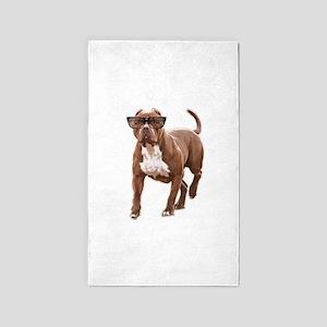 Funny pit bull in glasses Area Rug