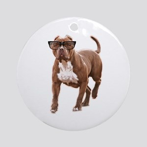 Funny pit bull in glasses Round Ornament