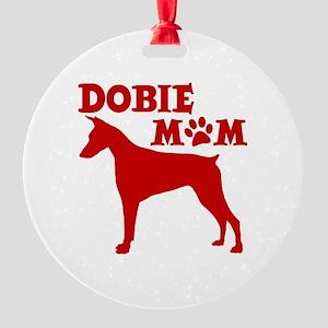 DOBIE MOM Round Ornament