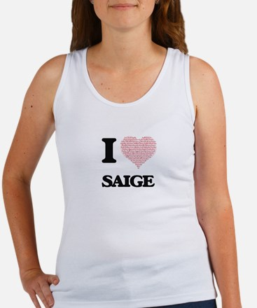 I love Saige (heart made from words) desi Tank Top