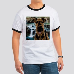 Dark Vector Art Airedale Against Brook T-Shirt