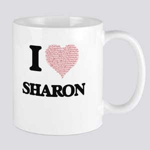 I love Sharon (heart made from words) design Mugs