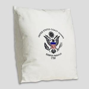 uscg_flg_w Burlap Throw Pillow