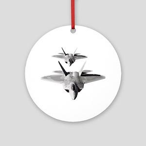 Two F-22 Raptors in Flight Round Ornament