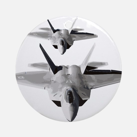 Two F-22 Raptors in Flight Round Ornament