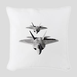 Two F-22 Raptors in Flight Woven Throw Pillow