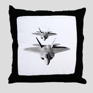 Two F-22 Raptors in Flight Throw Pillow