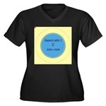 Button Image Women's Plus Size V-Neck Dark T-Shirt