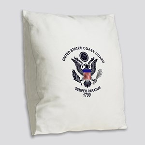 uscg_flg_d1 Burlap Throw Pillow