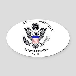 uscg_flg_d1 Oval Car Magnet