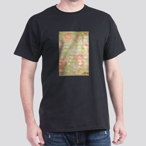 Shabby Chic Country Floral Peony Wood T-Shirt