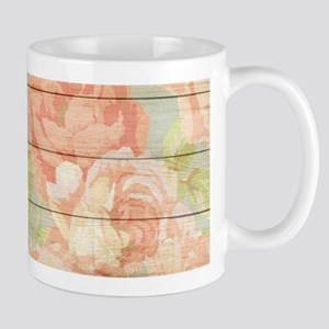 Shabby Chic Country Floral Peony Wood Mugs