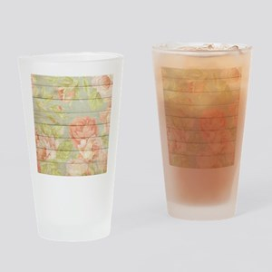 Shabby Chic Country Floral Peony Wo Drinking Glass