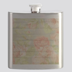 Shabby Chic Country Floral Peony Wood Flask