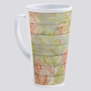 Shabby Chic Country Floral Peony W 17 oz Latte Mug
