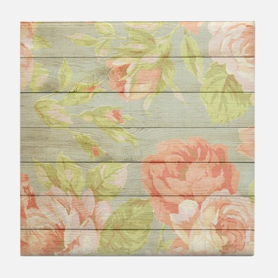 Shabby Chic Country Floral Peony Wood Tile Coaster