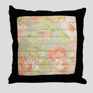 Shabby Chic Country Floral Peony Wood Throw Pillow