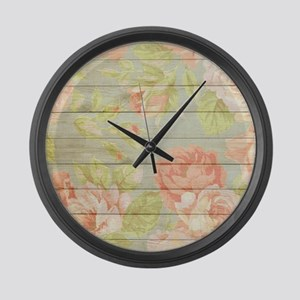 Shabby Chic Country Floral Peony Large Wall Clock