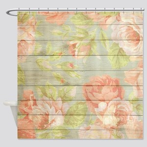 Shabby Chic Country Floral Peony Wo Shower Curtain